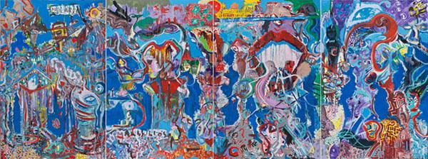 Sinergie - mt 4x1,60 acrilico su tela polittico 2011